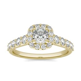 1 1/3 CTW Cushion Caydia Lab Grown Diamond Shared Prong Halo Engagement Ring 14K Yellow Gold, SIZE 7.0 Stone Color E