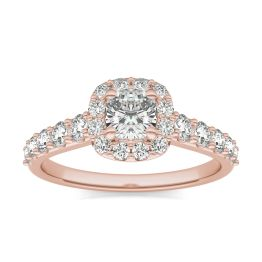1 1/3 CTW Cushion Caydia Lab Grown Diamond Shared Prong Halo Engagement Ring 14K Rose Gold, SIZE 7.0 Stone Color E