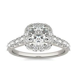 1 3/4 CTW Cushion Caydia Lab Grown Diamond Shared Prong Halo Engagement Ring 14K White Gold, SIZE 7.0 Stone Color E