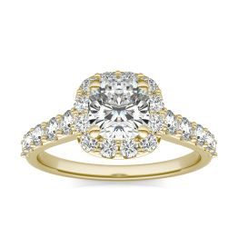 1 3/4 CTW Cushion Caydia Lab Grown Diamond Shared Prong Halo Engagement Ring 18K Yellow Gold, SIZE 7.0 Stone Color E