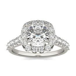 2 2/3 CTW Cushion Caydia Lab Grown Diamond Shared Prong Halo Engagement Ring 14K White Gold, SIZE 7.0 Stone Color E