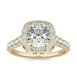 2 2/3 CTW Cushion Caydia Lab Grown Diamond Shared Prong Halo Engagement Ring 14K Yellow Gold