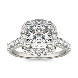 2 7/8 CTW Cushion Caydia Lab Grown Diamond Shared Prong Halo Engagement Ring 14K White Gold, SIZE 7.0 Stone Color E