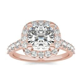 2 7/8 CTW Cushion Caydia Lab Grown Diamond Shared Prong Halo Engagement Ring 18K Rose Gold, SIZE 7.0 Stone Color E