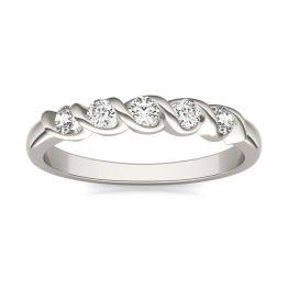 1/4 CTW Round Caydia Lab Grown Diamond Five Stone Twist Anniversary Band Ring 14K White Gold