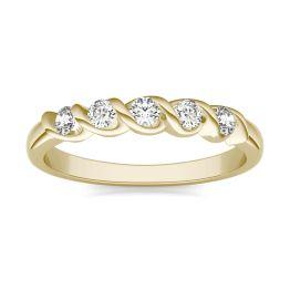 1/4 CTW Round Caydia Lab Grown Diamond Five Stone Twist Anniversary Band Ring 18K Yellow Gold