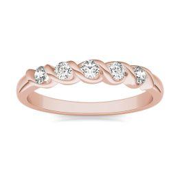 1/4 CTW Round Caydia Lab Grown Diamond Five Stone Twist Anniversary Band Ring 14K Rose Gold