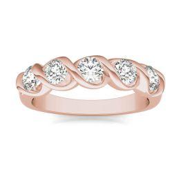 1/2 CTW Round Caydia Lab Grown Diamond Five Stone Twist Anniversary Band Ring 14K Rose Gold