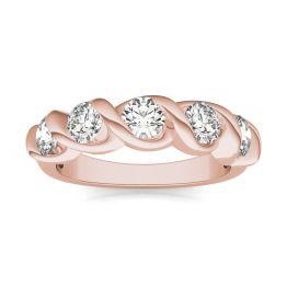 1 1/4 CTW Round Caydia Lab Grown Diamond Five Stone Twist Anniversary Band Ring 14K Rose Gold