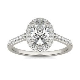 1 1/3 CTW Oval Caydia Lab Grown Diamond Signature Halo with Side Accents Engagement Ring Platinum, SIZE 7.0 Stone Color E