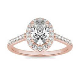 1 1/3 CTW Oval Caydia Lab Grown Diamond Signature Halo with Side Accents Engagement Ring 18K Rose Gold, SIZE 7.0 Stone Color E