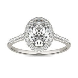 1 7/8 CTW Oval Caydia Lab Grown Diamond Signature Halo with Side Accents Engagement Ring Platinum, SIZE 7.0 Stone Color E