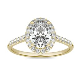 1 7/8 CTW Oval Caydia Lab Grown Diamond Signature Halo with Side Accents Engagement Ring 18K Yellow Gold, SIZE 7.0 Stone Color E
