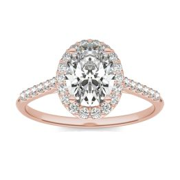 1 7/8 CTW Oval Caydia Lab Grown Diamond Signature Halo with Side Accents Engagement Ring 18K Rose Gold, SIZE 7.0 Stone Color E
