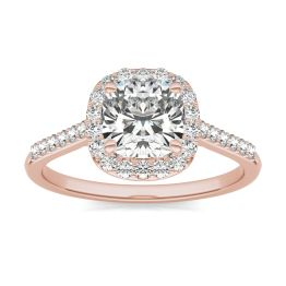 1 7/8 CTW Cushion Caydia Lab Grown Diamond Signature Halo with Side Accents Engagement Ring 18K Rose Gold, SIZE 7.0 Stone Color E