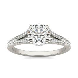 1 1/3 CTW Round Caydia Lab Grown Diamond Split Shank Hidden Halo Ring 14K White Gold