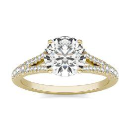 1 7/8 CTW Round Caydia Lab Grown Diamond Split Shank Hidden Halo Ring 14K Yellow Gold, SIZE 7.0 Stone Color E