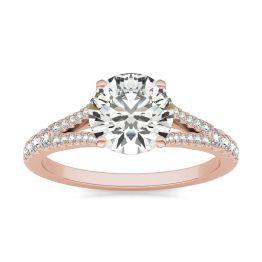 1 7/8 CTW Round Caydia Lab Grown Diamond Split Shank Hidden Halo Ring 18K Rose Gold, SIZE 7.0 Stone Color E