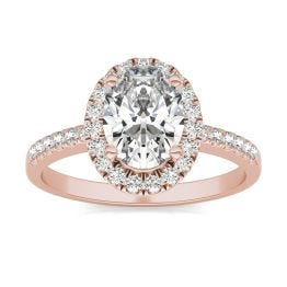 1 7/8 CTW Oval Caydia Lab Grown Diamond Halo Engagement Ring 14K Rose Gold, SIZE 7.0 Stone Color E