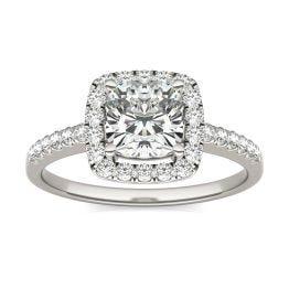 1 1/3 CTW Cushion Caydia Lab Grown Diamond Halo Engagement Ring Platinum, SIZE 7.0 Stone Color E