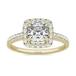 1 1/3 CTW Cushion Caydia Lab Grown Diamond Halo Engagement Ring 14K Yellow Gold, SIZE 7.0 Stone Color E