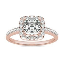 1 1/3 CTW Cushion Caydia Lab Grown Diamond Halo Engagement Ring 14K Rose Gold, SIZE 7.0 Stone Color E