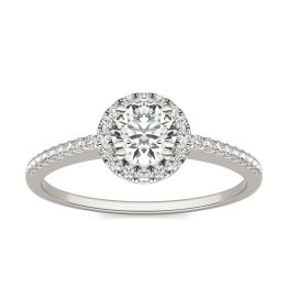 3/4 CTW Round Caydia Lab Grown Diamond Halo Engagement Ring 14K White Gold, SIZE 7.0 Stone Color E