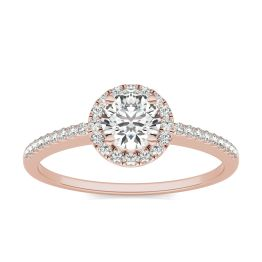 3/4 CTW Round Caydia Lab Grown Diamond Halo Engagement Ring 14K Rose Gold, SIZE 7.0 Stone Color E
