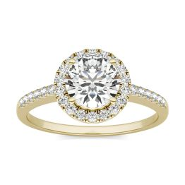 1 1/3 CTW Round Caydia Lab Grown Diamond Halo Engagement Ring 14K Yellow Gold, SIZE 7.0 Stone Color E
