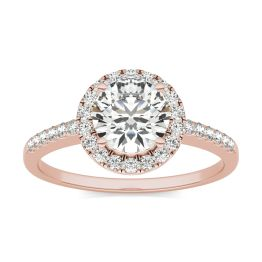 1 1/3 CTW Round Caydia Lab Grown Diamond Halo Engagement Ring 14K Rose Gold, SIZE 7.0 Stone Color E