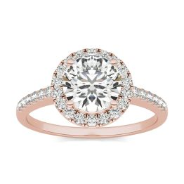 1 2/3 CTW Round Caydia Lab Grown Diamond Halo Engagement Ring 14K Rose Gold, SIZE 7.0 Stone Color E
