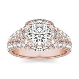 2 1/2 CTW Round Caydia Lab Grown Diamond Signature Halo Pave Engagement Ring 18K Rose Gold, SIZE 7.0 Stone Color E