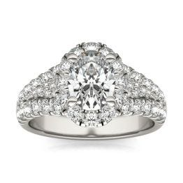 2 3/4 CTW Oval Caydia Lab Grown Diamond Signature Halo Pave Engagement Ring 18K White Gold, SIZE 7.0 Stone Color E