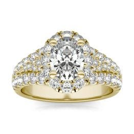 2 3/4 CTW Oval Caydia Lab Grown Diamond Signature Halo Pave Engagement Ring 18K Yellow Gold, SIZE 7.0 Stone Color E