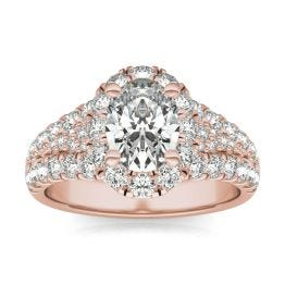 2 3/4 CTW Oval Caydia Lab Grown Diamond Signature Halo Pave Engagement Ring 18K Rose Gold, SIZE 7.0 Stone Color E