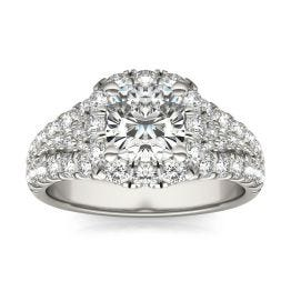 2 3/4 CTW Cushion Caydia Lab Grown Diamond Signature Halo Pave Engagement Ring 18K White Gold, SIZE 7.0 Stone Color E
