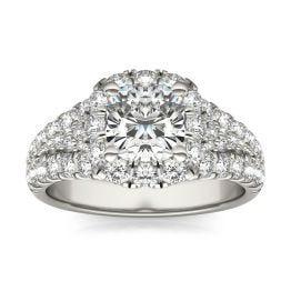 2 3/4 CTW Cushion Caydia Lab Grown Diamond Signature Halo Pave Engagement Ring Platinum, SIZE 7.0 Stone Color E