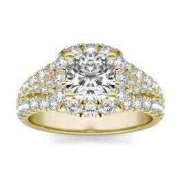 2 3/4 CTW Cushion Caydia Lab Grown Diamond Signature Halo Pave Engagement Ring 18K Yellow Gold, SIZE 7.0 Stone Color E