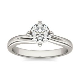 3/4 CTW Round Caydia Lab Grown Diamond Four Prong Twist Solitaire Engagement Ring 18K White Gold, SIZE 7.0 Stone Color E