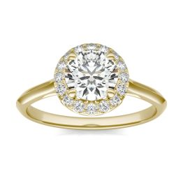 1 1/6 CTW Round Caydia Lab Grown Diamond Signature Halo Engagement Ring 18K Yellow Gold, SIZE 7.0 Stone Color E
