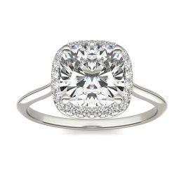 2 3/4 CTW Cushion Caydia Lab Grown Diamond Signature Halo Engagement Ring 18K White Gold, SIZE 7.0 Stone Color E