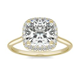 2 3/4 CTW Cushion Caydia Lab Grown Diamond Signature Halo Engagement Ring 18K Yellow Gold, SIZE 7.0 Stone Color E