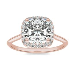 2 3/4 CTW Cushion Caydia Lab Grown Diamond Signature Halo Engagement Ring 18K Rose Gold, SIZE 7.0 Stone Color E