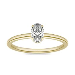 1/2 CTW Oval Caydia Lab Grown Diamond Hidden Halo Solitaire Engagement Ring 14K Yellow Gold, SIZE 7.0 Stone Color E