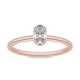 1/2 CTW Oval Caydia Lab Grown Diamond Hidden Halo Solitaire Engagement Ring 18K Rose Gold, SIZE 7.0 Stone Color E