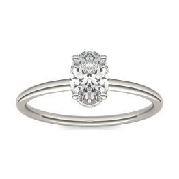 1 1/15 CTW Oval Caydia Lab Grown Diamond Hidden Halo Solitaire Engagement Ring Platinum, SIZE 7.0 Stone Color E