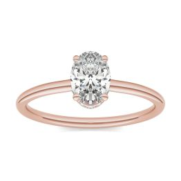 1 1/15 CTW Oval Caydia Lab Grown Diamond Hidden Halo Solitaire Engagement Ring 18K Rose Gold, SIZE 7.0 Stone Color E