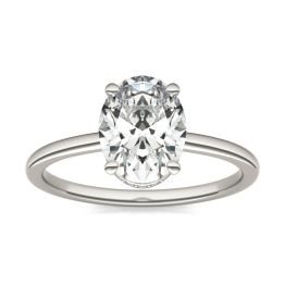 2 1/10 CTW Oval Caydia Lab Grown Diamond Hidden Halo Solitaire Engagement Ring Platinum, SIZE 7.0 Stone Color E