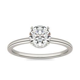 7/8 CTW Round Caydia Lab Grown Diamond Hidden Halo Solitaire Engagement Ring Platinum, SIZE 7.0 Stone Color E