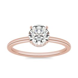 7/8 CTW Round Caydia Lab Grown Diamond Hidden Halo Solitaire Engagement Ring 18K Rose Gold, SIZE 7.0 Stone Color E